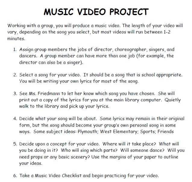 Music Video Directions
